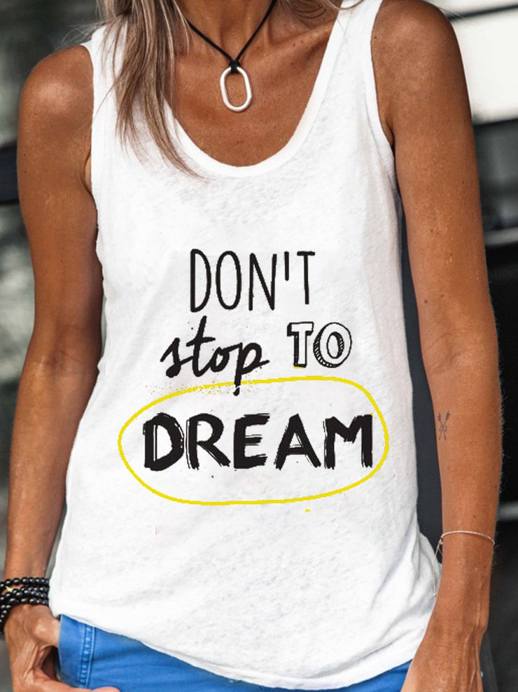 Women Don't Stop To Dream Summer Tanks