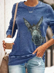 Women's Painted Animal Cute Donkey Print T-shirt