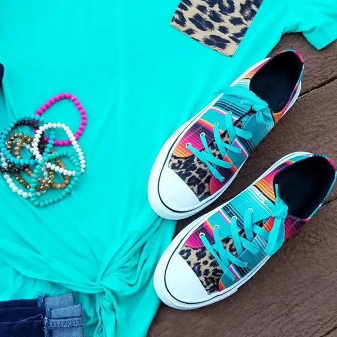 Women's Canvas Serape and Leopard Print Lace Up Sneakers