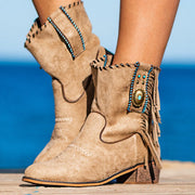 Women's Comfy Boho Tassel Suede Boots