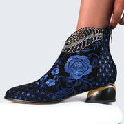 Women's Comfy Soft Leather Embroidered Flowers Rhinestone Chunky Heel Summer Boots