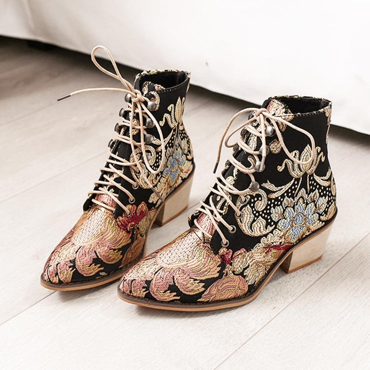 Women's Summer Boots Pointed Toe Embroidered Lace Up Block Heel Short Boots