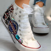 Women's Fashionable And Comfortable Rhinestone Decoration College Style High-Top Canvas Shoes