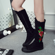 Women's All-Match Embroidered Canvas Sports Large Size Mid-Boots