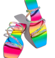 Women's Rhinestone Rainbow Plus Size Sandals