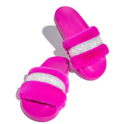 Women's Chic Faux Fluffy Fur Open Toe Slip On Slippers With Rhinestone