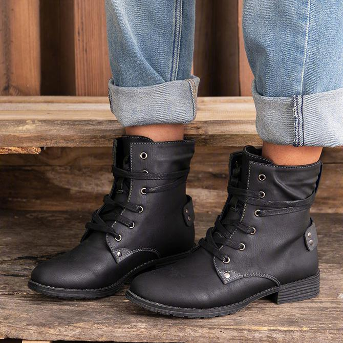 Women's Zipper Artificial Leather Boots