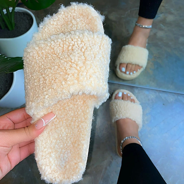 Women's Faux Sheep Fur Comfy Slip On Slippers