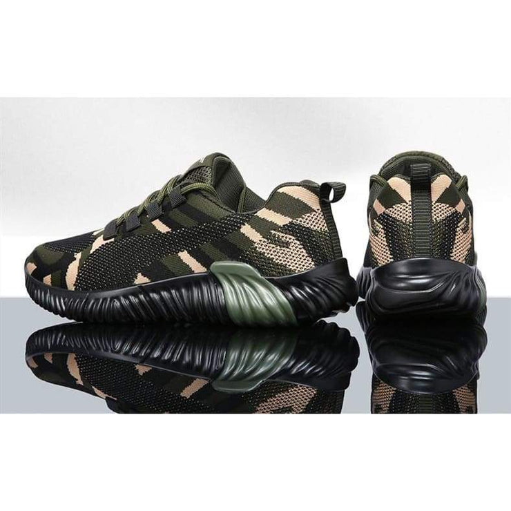 Women & Man Flyknit Camouflage  Walking Shoes Platform Sneakers For Couple