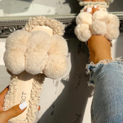 Women's Decorative Fur Ball Soft Flat Casual Slippers