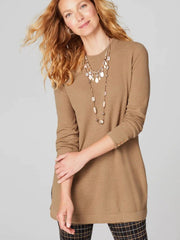 Buttoned-Sleeve Sweater Tunic