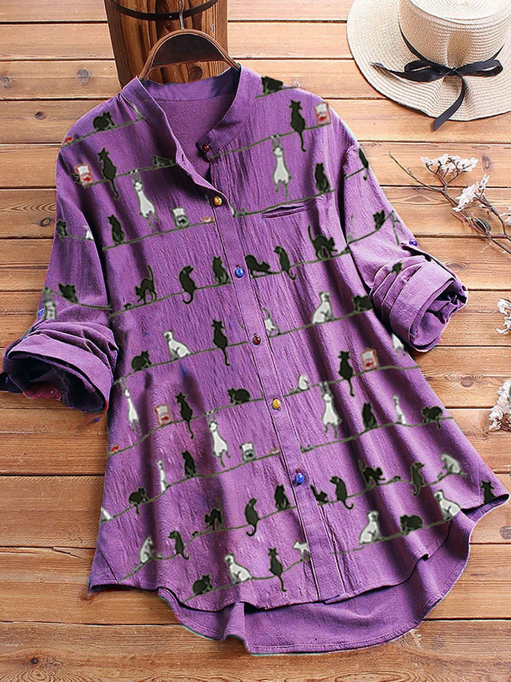 Plus Size Cat Printed Long Sleeve Women Comfy Blouses