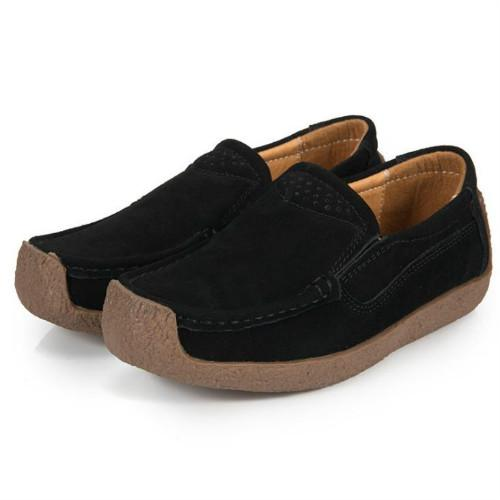 Women's Moccasin hand Comfy Suede Slip-On Hollow Flat Shoes Loafer