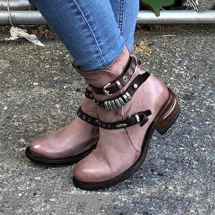 Women's Trendy Vintage Leather Ankle Boots