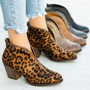 Plus Size Women Casual Comfy Suede V Shape Chunky Heel Zip Ankle Boots