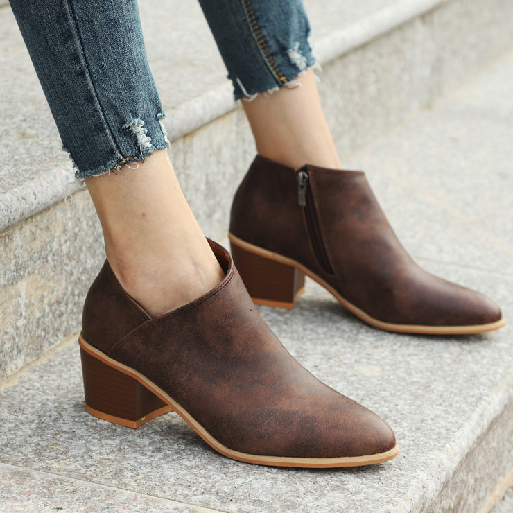 Large Size Women Casual Solid Color Low Heel Ankle Boots