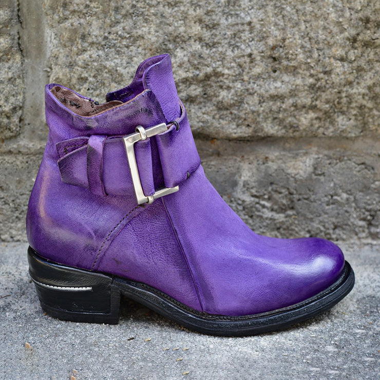 Women's Trendy Vintage Leather Booties Ankle Boots With Buckle