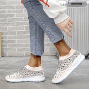 Women's Bling Diamond Flying Woven Lightweight Casual Large Size Sneakers