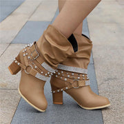 Women's Rhinestone Rivet Kitten Heel Slip On Mid-calf Boots