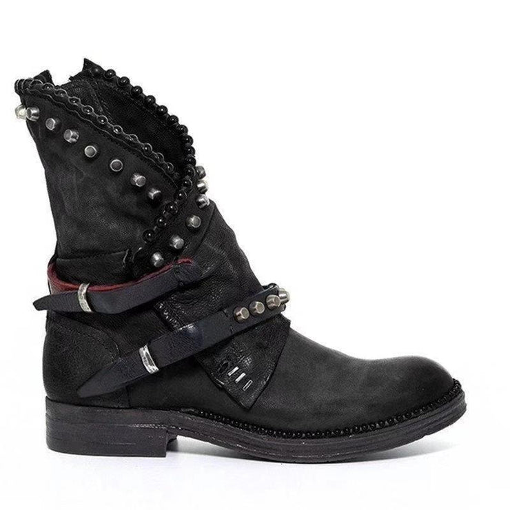 Women's Vintage Rivet Personality Large Size Leather Short Boots
