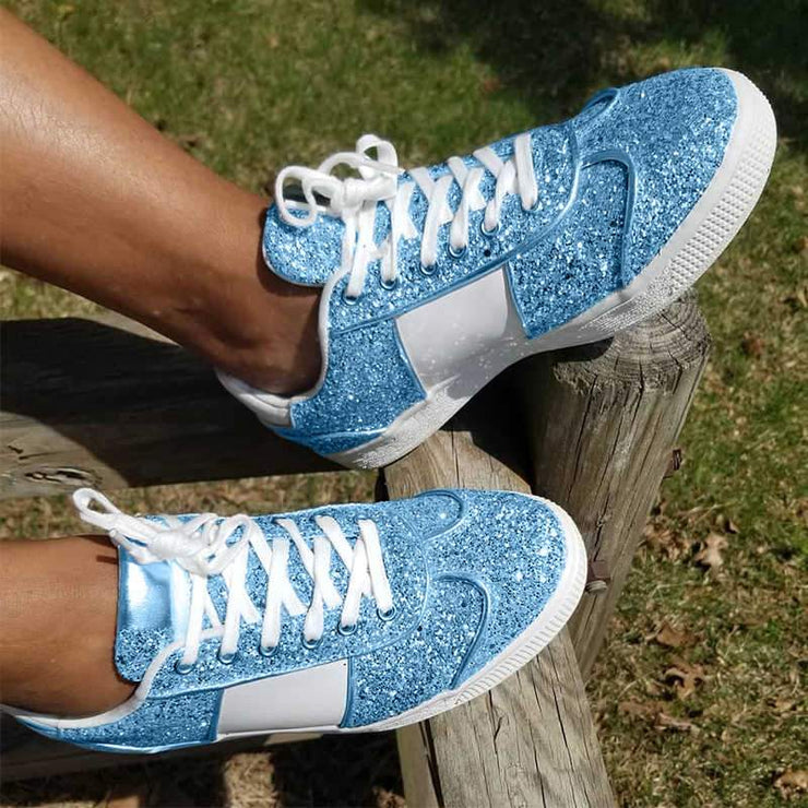 Women's Stylish Bling Paillette Split Joint Mixed Colors Lace Up Sneakers
