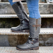 Women's Comfy Vintage Leather Zipper High Boots Snow Boots