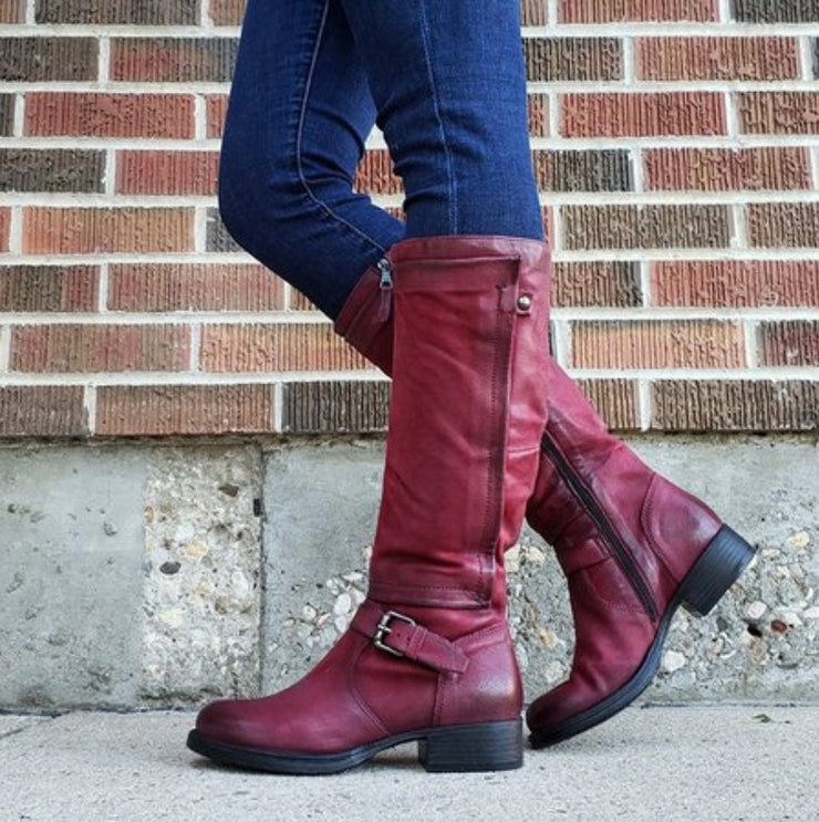 Women's Vintage Retro Leather Knee High Boots With Buckle