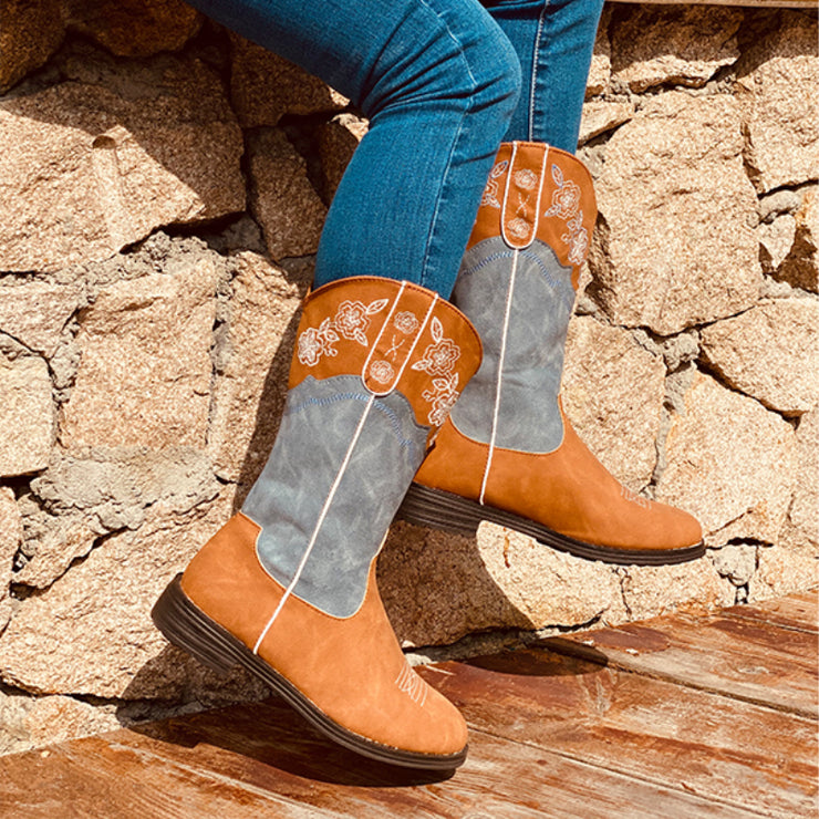 Women's Retro Color-blocking Cowgirl Boots Floral Western Boots