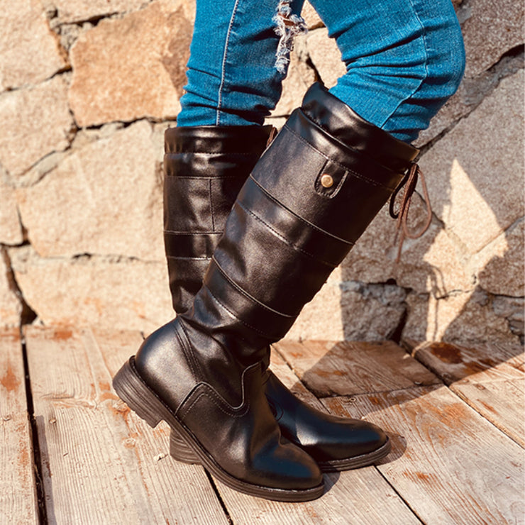 Women's Comfy Chunky Heel Lace-up Knee High Boots