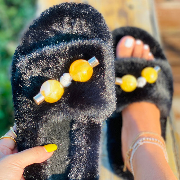 Women's Comfy Puffy Fur Open Toe Flat Slippers