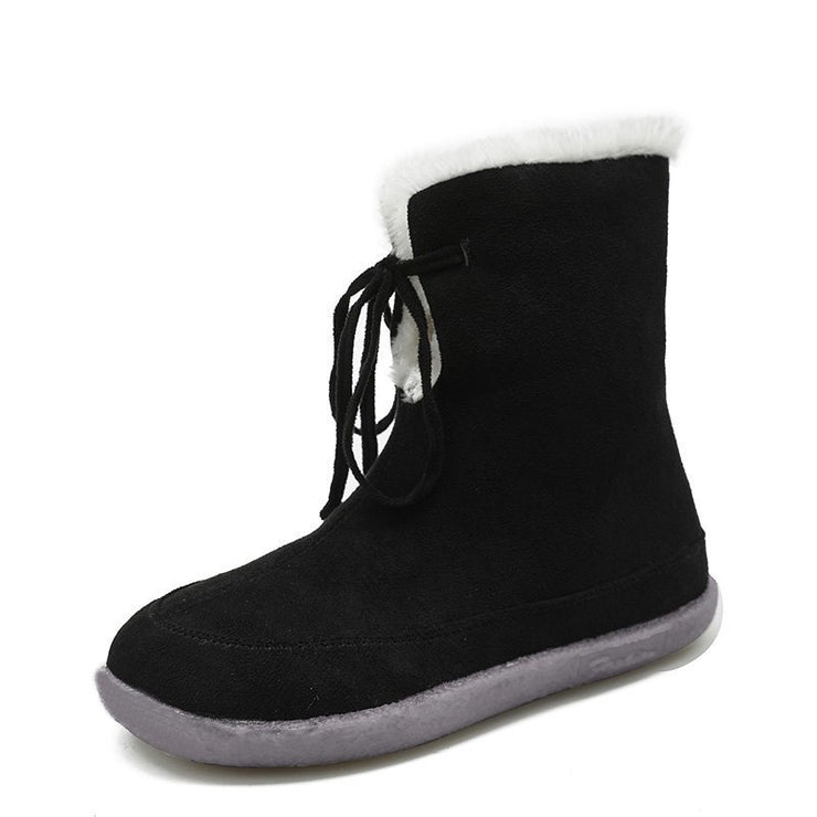 Women's Fashion Lace-Up Suede Warm Soft Snow Boots