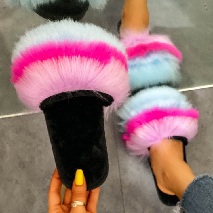 Women's Fashion Soft Plus Size Rainbow Color Furry Slippers