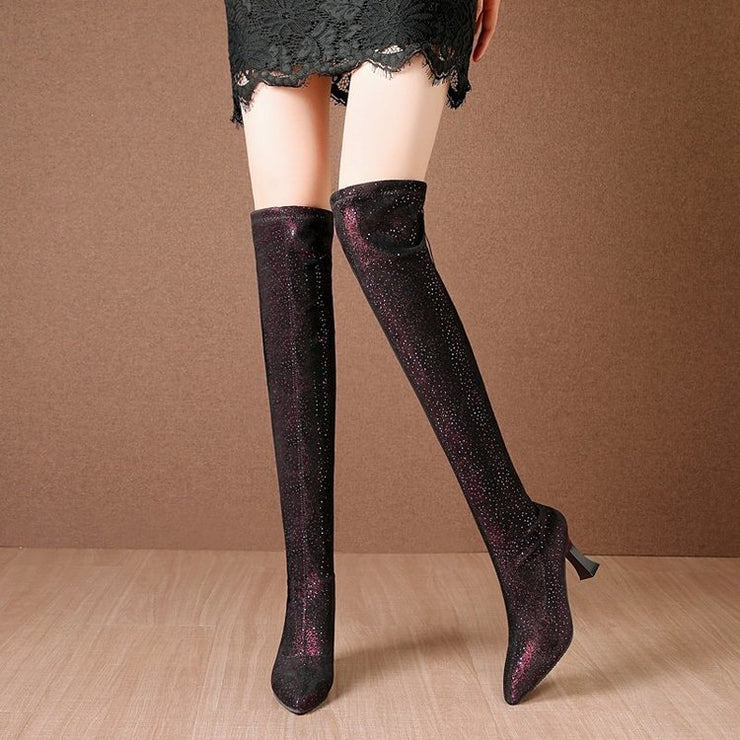 Women's stretch stovepipe boots Over the knee boots Women's high-heeled boots Pointed stiletto boots