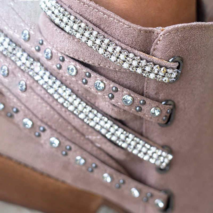 Women's Shining Rhinestones Rivet Decor Zipper Short Boots