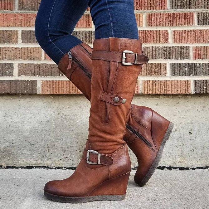 Women's Vintage Wedge Heel Daily  Knee High Boots