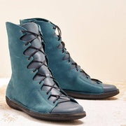 Women's Pu Leather Flat Heel Mid-Calf Boots Round Toe Lace Up Shoes