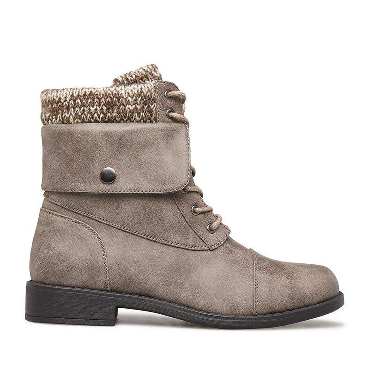 Women's Winter Lace-Up Sweater Knit Ankle Boots