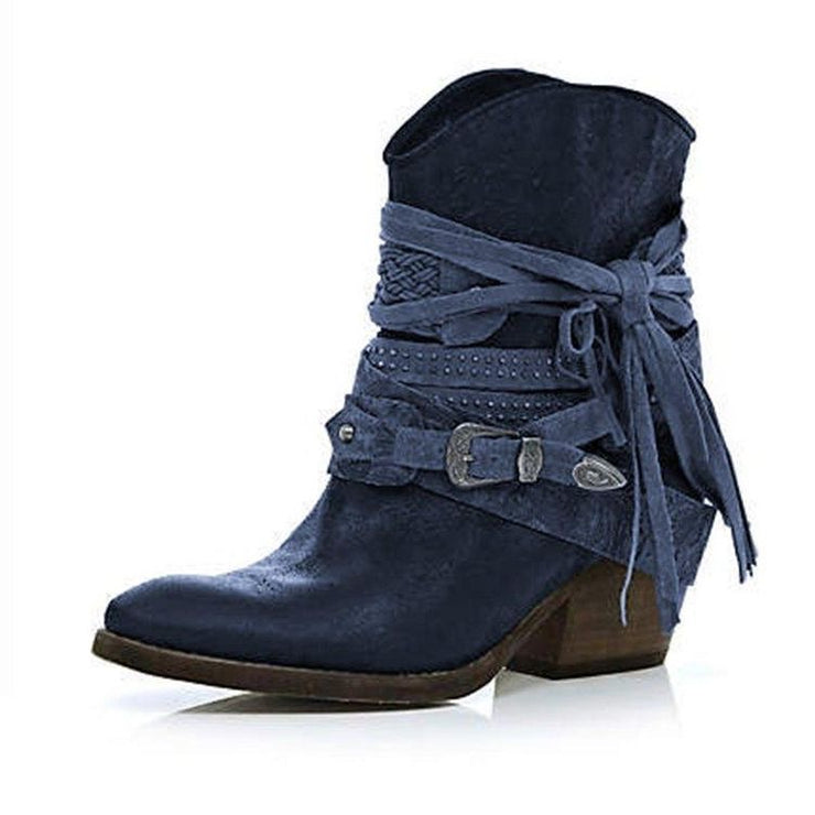 Women's Retro Street Buckle Senior Thick Heel Non-Slip Short Boots