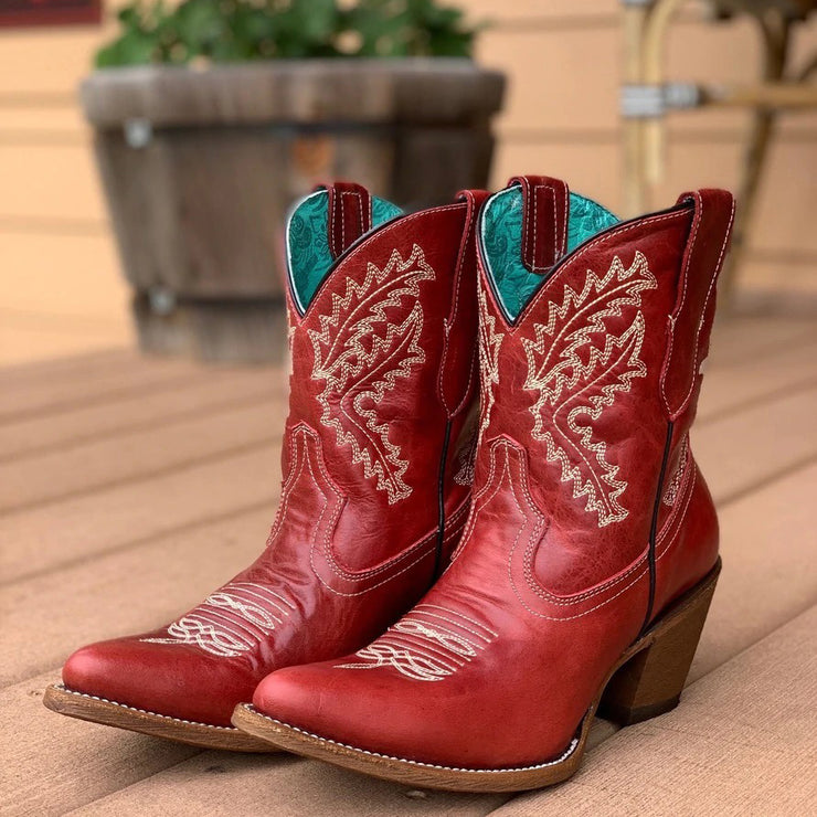 Women's Vintage Red Western Embroidery Comfortable Non-Slip Plus Size Short Boots