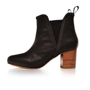 Woman's Stitching Split Joint Chunky Heel Round Toe Ankle Boots