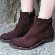 Women's Stylish Low Heel Faux Suede Side Zipper Ankle Boots