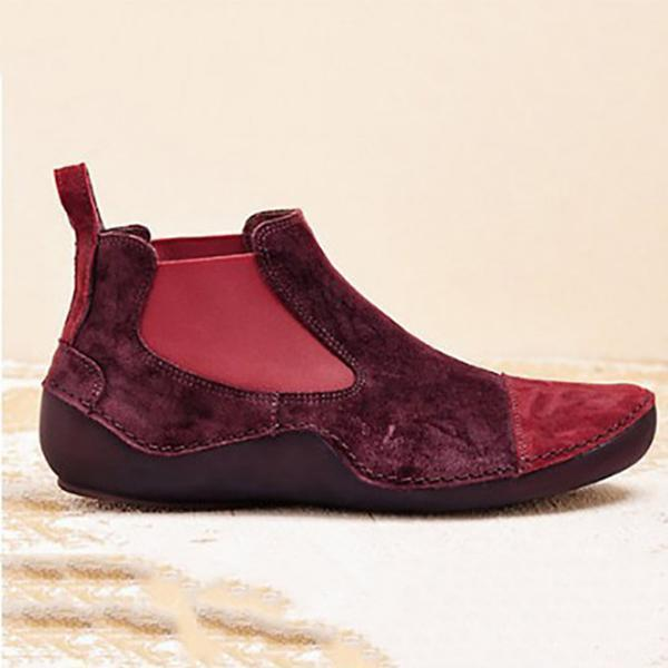 Women's Velvet Round Toe Casual Boots Flat Shoes