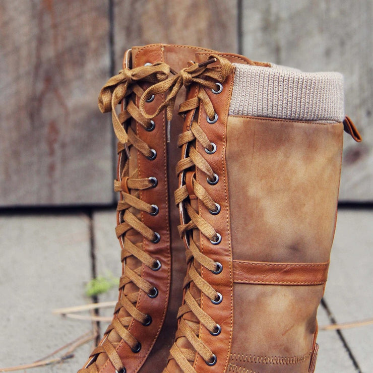 Women's Retro Casual All-Match Knit Stitching Lace-Up Comfortable And Soft Boots