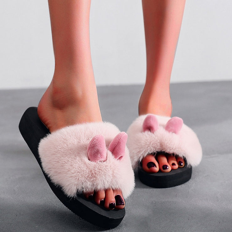 Women's cat ears plush slippers