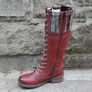 Women's Vintage Leather Boots With Wool Lining