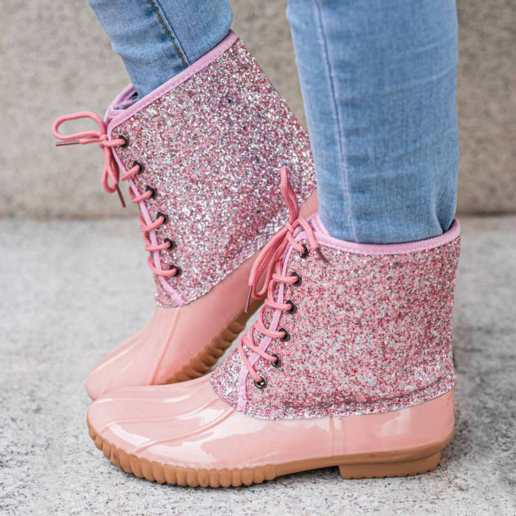 Women's Casual Lace-up Sparkling Glitter Rain Boots