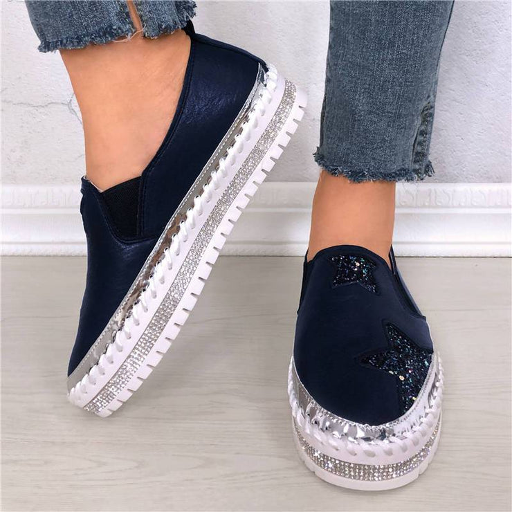 Women's Blingbling Rhinestones Star Pattern Slip On Muffin Sneakers