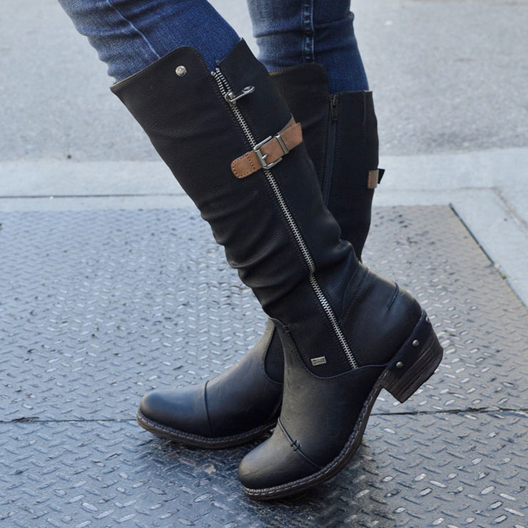 Women's Trendy Vintage Buckle Design Leather Chunky Calf Boots