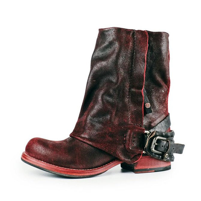 Women's Vintage Leather Booties With Buckle