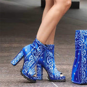Women's Trendy Bandana Pattern Pointed Toe Slip On Mid Heel Boots